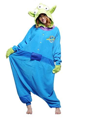 Unisex Disney Zeichentrickfiguren Schlumpf Ausländer Mike Wazowski Elmo Sully keks Monster Onesie Kigurumi Pyjama Karneval Kostüm Maskenkostüm Kapuzenpulli Schlafanzüge Alien, L(Height 170cm-180cm)