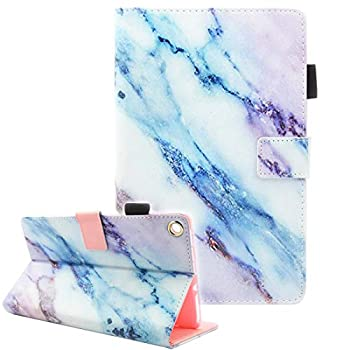 Fire HD 8 Tablet Case Case for Fire HD 8 Old Model  Fits 2018 2017 2016 Version 8th/7th/6th Gen  Not Fit All New HD 8 10th Gen 2020 Tablet Fvimi Leather Folio Smart Cover Marble