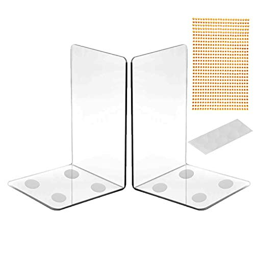 TooWood New Sturdy and Durable Acrylic Clear Bookends, 2PCS of Bookends...