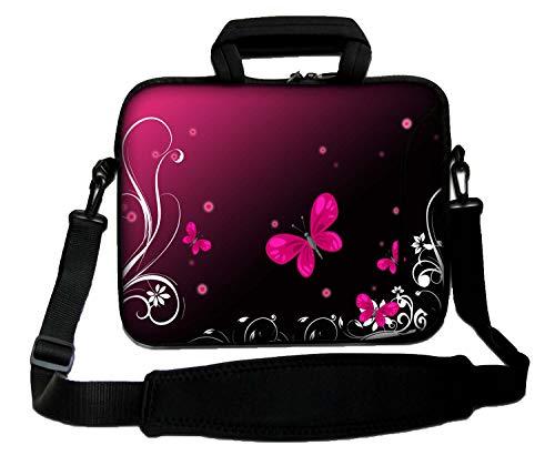 Ektor Laptoptasche für 10-17,6 Zoll Laptops mit rotem Schultergurt Red Butterfly 14 Zoll (Größe 260 x 360 mm)