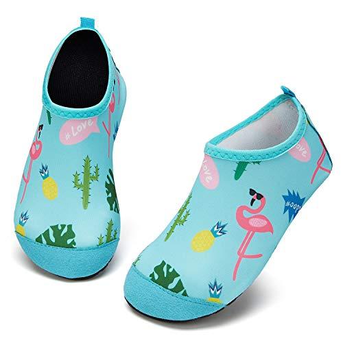 Escarpines de Baño para Niños Zapatos de Agua de Secado Rápido y Antideslizante Zapatos de Agua Bebé Niño Niña Zapatos de por Parque Acuático(Flamenco Azul,4/4.5 UK Child,20/21 EU
