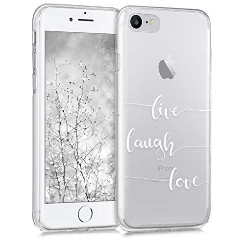 kwmobile Hülle kompatibel mit Apple iPhone 7/8 / SE (2020) - Handyhülle - Handy Case Live Laugh Love Weiß Transparent
