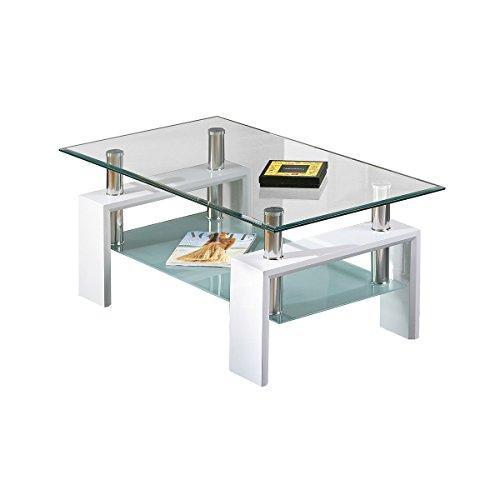 AltoBuy Base Blanc - Table Basse rectangulaire Plateau Verre trempé