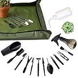 XoXa Juego de herramientas para plantas grasas, 14 piezas, mini herramientas de jardín + 1 alfombrilla para trasplantar impermeable y plegable, para el cuidado de plantas en miniatura en interiores