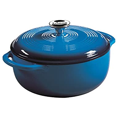 Lodge 4.5 Quart Enameled Cast Iron Dutch Oven. Blue Enamel Iron Dutch Oven with Self Basting Lid. (Carribbean Blue)