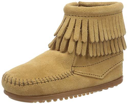 Minnetonka Double Fringe Side Zip Mädchen Kurzschaft Mokassin Boots, Beige (Taupe / TPE), 28 EU