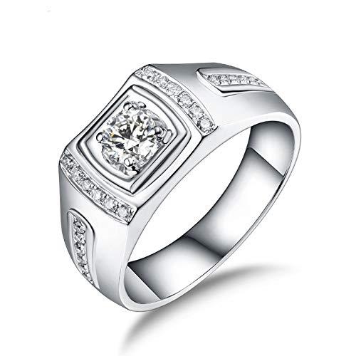 Socoz Anillos de boda de oro blanco de 18 quilates con diamante de 4 puntas para hombre de oro blanco Oro Bianco