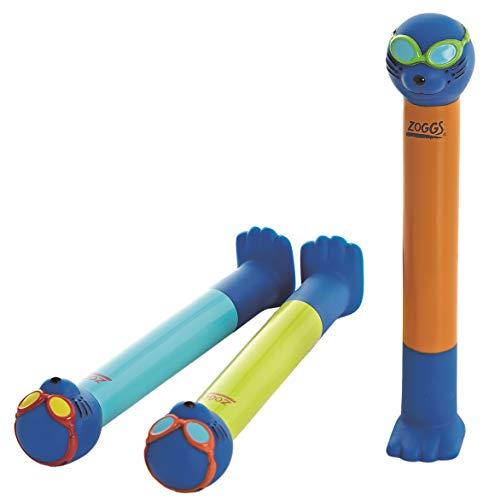 Zoggs 304265 Palos Dive Sticks Buceo Juguetes para niños, Bebés Unisex, Naranja/Lima/Azul, 3 Pack