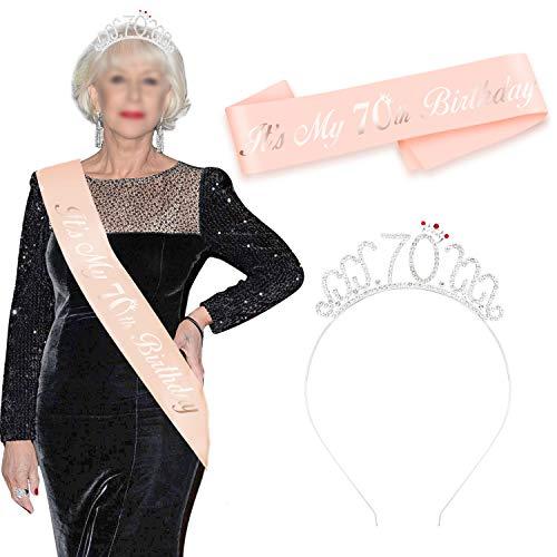 HOWAF Oro Rosa 70 cumpleaños Faja de satén cumpleaños Banda y 70 Diadema Tiara para Mujer 70 Años cumpleaños Fiesta de Decoración Accesorios Regalo Mujer