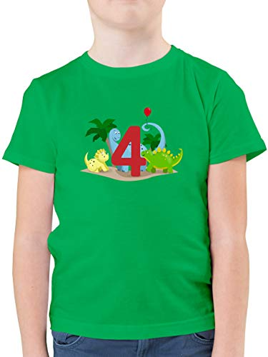 Kindergeburtstag Geschenk - 4. Geburtstag Dinos - 116 (5/6 Jahre) - Grün - t Shirt Kinder Geburtstag - F130K - Kinder Tshirts und T-Shirt für Jungen