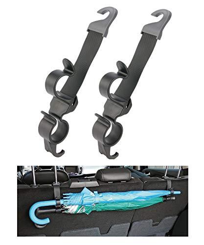 Hypersonic Auto-Kopfstützen-Haken, 2 Packungen, Auto-Rücksitz-Kleiderbügel für Tasche/Geldbörse/Regenschirm (schwarz – Doppelhaken)