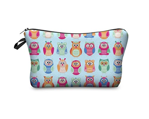 Hanessa Geschenk zu Weihnachten Kosmetiktasche Kulturbeutel Beutel Tüte Federmappe Zipper Make Up Bag Reißverschluss All Over Full Print Hell-Blau Eule Eulen Uhu Kauz bunt SB65