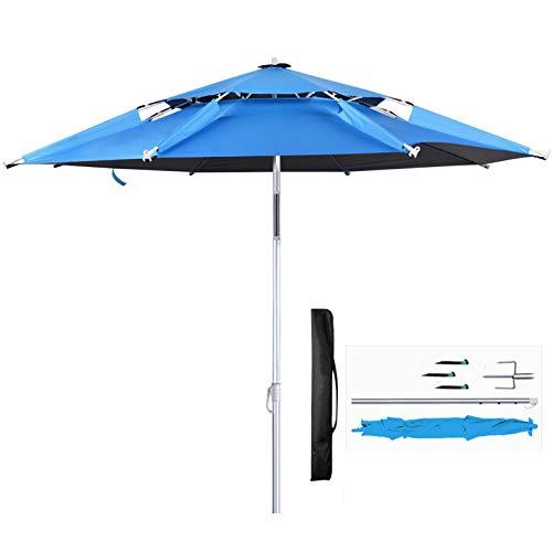 LYXCM Gartenschirme, Aluminium Sonnenschirme Mit Kippbaren Kurbeln Klappbare Sonnenschirme Auf Der Strandterrasse Schwimmbad Strandbalkon Angeln Freitragende Sonnenschirme in Der,Blau