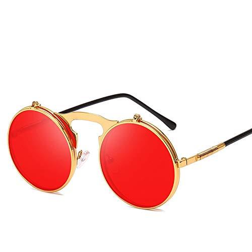 Gafas de Sol Sunglasses Flip Round Gafas De Sol Hombres Mujeres Metal Steampunk Gafas De Sol Uv400 9