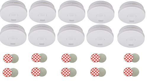 10x Brennenstuhl Rauchmelder RM L 3100 VDs Zertifiziert (mit integrierter 10 Jahres Batterie, Testsieger Stiftung-Warentest, Q Qualitätssiegel) weiß + 10x FiduciaShop 3M Magnethalter für Feuermelder