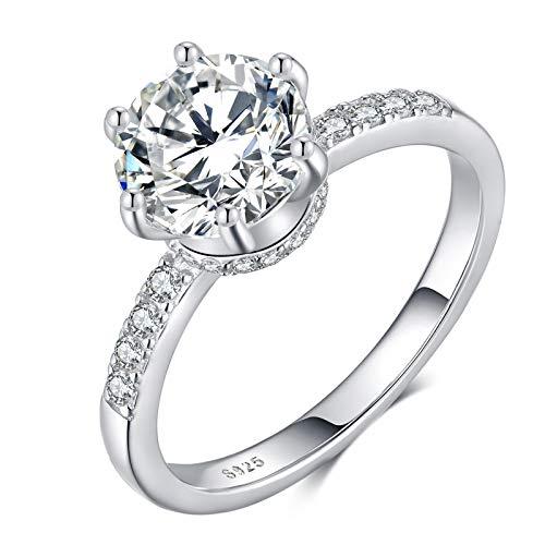Qings Anillos de Boda de Plata 925 para Mujer, Anillo de Compromiso de Diamantes Redondos Regalos de Joyería para Amante