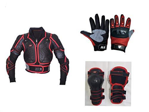 Juego de protección infantil para motocicleta, con protector de espalda, ideal para actividades deportivas, con rodilleras y guantes con nudillos rígidos