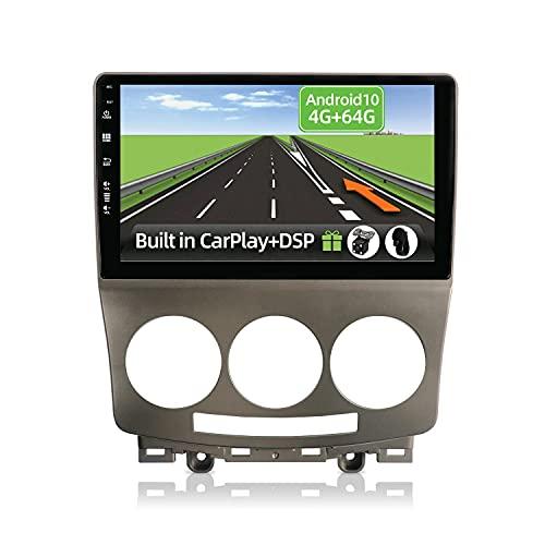 YUNTX Android 10 2 Din Autoradio Adatto per Mazda 5 (2005-2010)-4G+64G-[Integrato CarPlay/Android auto/DSP]-Gratuiti 4LED Camera-Supporto DAB/Controllo del Volante/360 Camera/Bluetooth/MirrorLink