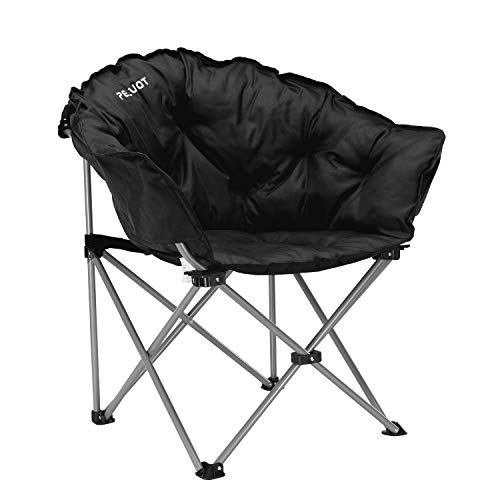 Pelliot Oversized Camping Chair Padded Moon Round Chair Portable Folding Saucer Chair