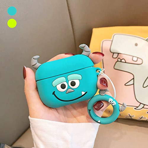 Airpods Pro Case, LKAKA Soft Silicone Protective Case Cover Compatible for Apple Airpods Pro Charging Case Fashion Cartoon Design for Girls and Boys (Blue)