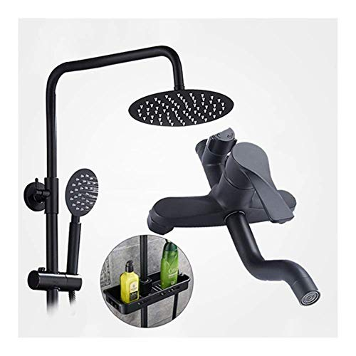 CCAN Shower System Bathroom Rain Mixer Shower Combo Set 8 Inch Rainfall Shower Head Mixer Valve Shower Set Faucet Tap with Storage Shelf Interesting Life