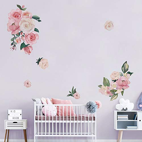 decalmile Wandtattoo Blumen Wandsticker Rose Pfingstrose Wandaufkleber Wohnzimmer Schlafzimmer Babyzimmer Kinderzimmer Romantisch Wanddeko