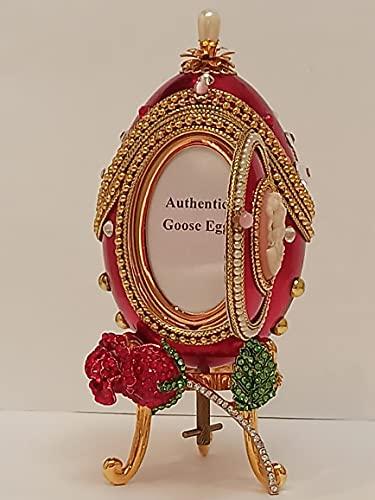 Caja de música con diseño de huevo de Faberge de Navidad de lujo regalo de Navidad, regalo único para esposa natural hecho Faberge rojo de oro de 24 quilates Ruby collar + pulsera