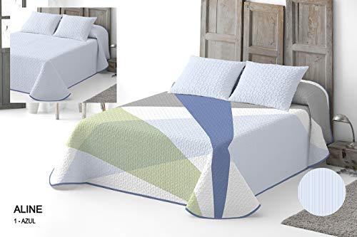 Catotex - Colcha bouti Reversible Aline. Cama 135 cm. Azul