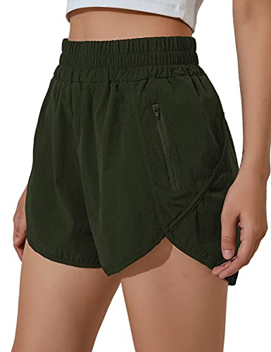 Blooming Jelly Womens High Waisted Running Shorts Athletic Workout Shorts Quick Dry Pants with Zipper Pocket (Medium,Army Green)