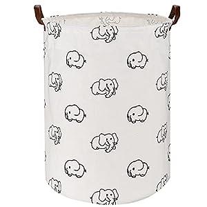 "21.65"" Large Laundry Basket ULG 76.16L Collapsible Fabric Laundry Hamper Canvas Organizer Basket Nursery Hamper Storage Bin for Laundry Nursery Bathroom Toys (Elephant)"