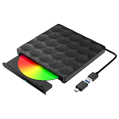 URSICO Lector CD Externo, Grabadora DVD Externa, Disquetera Externa USB 3.0 Type-C, CD-ROM/DVD-RW Burner Reader para computadora portátil, PC, Win10/8/7/XP/Vista/Linux/Mac OS