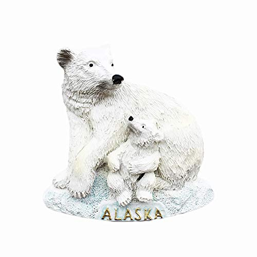 Aimant de réfrigérateur 3D Alaska USA - Souvenir d'Amérique - Cadeau souvenir - Fait à la main - Décoration de maison et de cuisine - Collection d'aimants de réfrigérateur Alaska