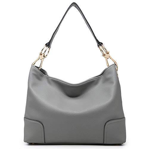 Dasein Women Hobo Bags Shoulder Handbags Hobo Purses Big Hook Hardware and Wide Strap (grey)