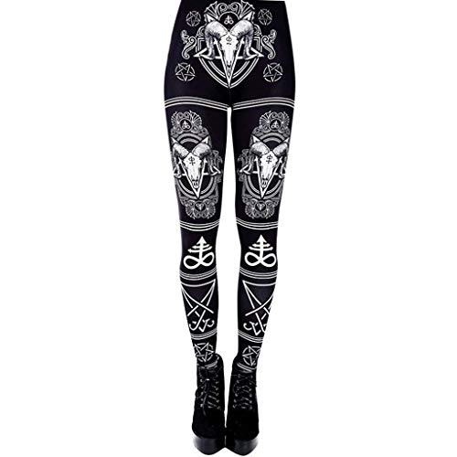 WOZOW Damen Leggings Gamaschen Punk Totem Pattern Print Druck Ethnic Cool Dünn Skinny Stretch Trousers High Waist Slim Lang Long Sport Hose Yoga Stoffhose (M,Schwarz)