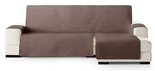 JM Textil Copridivano Salvadivano Chaise Longue Elena, Protezione Imbottita per divani Bracciolo Destro. Dimensione -240cm. Colore Marrone 07 (Visto di Fronte)