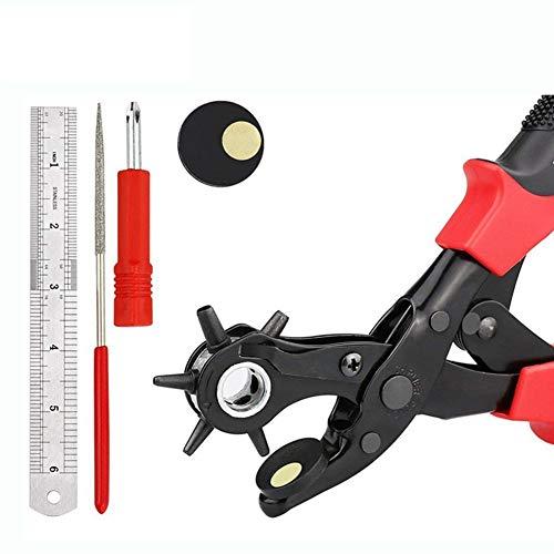 Lederen Hole Punch Tool, Riem Ponsen Tang voor Horloge Banden, Ambachten Kaart, Rubber, Zware Duty Rotary Puncher met 6 Gaten