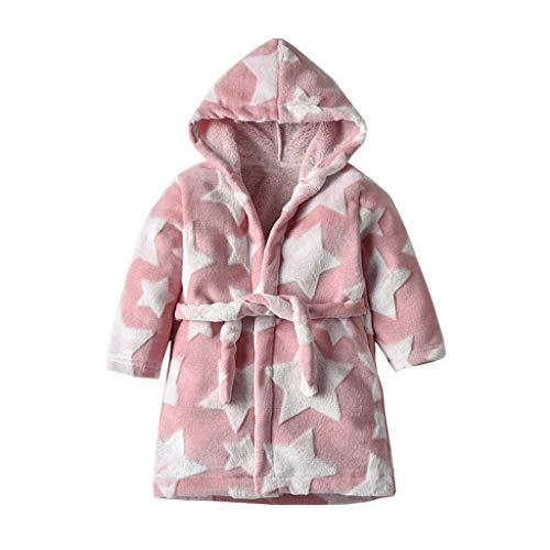 Kinder Bademäntel TTLOVE Flanell Hooded Bademäntel Stern-Drucken Schlafanzug Junge Mädchen Baumwolle Lange Nachthemd Nachtwäsche Kinder Pyjama (Rosa,100)