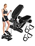 Steppers for Exercise, Steppers Mini Stepper Machine Exercise Step with Resistance Bands and LCD Monitor Fitness Step Home Gym Equipment