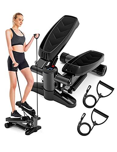 DACHUANG Stepper für Training, Stepper, Mini-Stepper mit Widerstandsbändern und LCD-Monitor, Fitnessgerät für Zuhause
