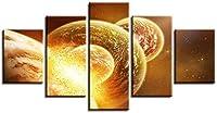 キャンバスプリント、5ピースキャンバス、5ピース壁画、リビングルーム装飾、モジュール式ウォールアート、ブレスカラ、誕生日ギフト、リビングルームアートワーク、宇宙惑星,A,M