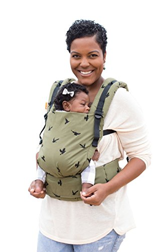 Baby Tula Free-to-Grow Baby Carrier, Adjustable Newborn to Toddler Carrier, Ergonomic and Multiple Positions for 7 – 45 pounds – Soar (Olive Green and Black Birds)