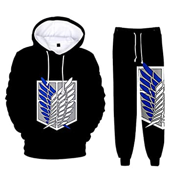 AMOMA Unisex Casual 2 Pieces Hoodie and Sweatpant Sets Anime Attack on Titan 3D Printed Pants Clothing Outfits M,BlueLogoBlack