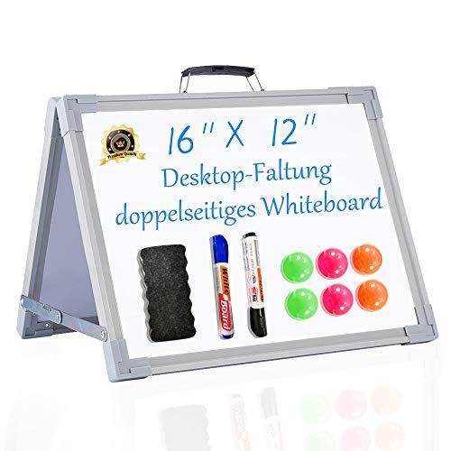 Pollenzic Pizarra blanca portátil de doble cara, plegable, pizarra blanca magnética borrable, pequeña pizarra blanca magnética para escritorio, para escuela, hogar, oficina, 30 x 40 cm