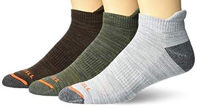 Merrell mens Cushioned Hiker Low Cut Tab 3 Pair Casual Sock, Dark Brown, Dark Grey/Light Grey, Olive Green, Medium-Large US