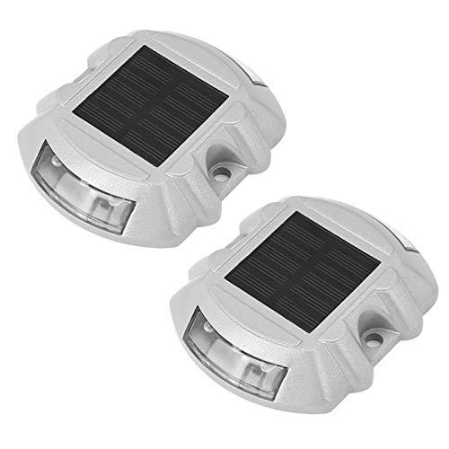 FILFEEL 6 Luces LED solares para Postes de Carretera, lámpara de Postes para Caminos de Entrada, marcadores de Carreteras Impermeables al Aire Libre con energía Solar, 2 Piezas