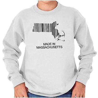 Made in Massachusetts Bar Code MA Hometown Youth Sweatshirt White