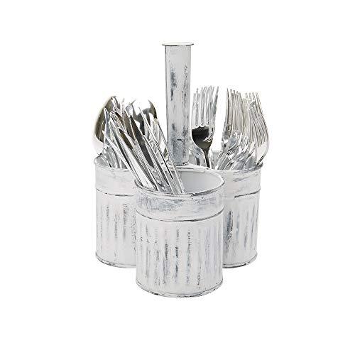 Mind Reader PAITE3-WHT Cutlery Silverware Organizer Utensil Caddy Multi-Purpose Holder Silver medium White Lines