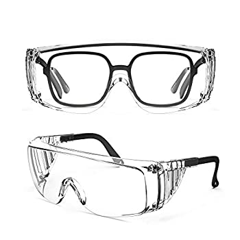 MEIGIX Safety Glasses Over Eyeglasses Protective Eyewear for Work - Anti Fog & Scratch Adjustable Shooting Goggles With Clear UV Resistant for Men Women Lab Clear Transparent