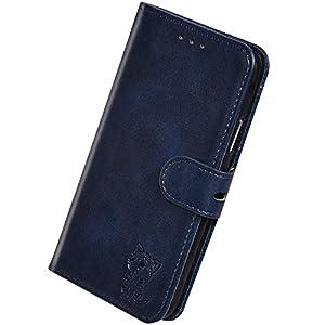 Herbests Kompatibel mit Samsung Galaxy J6 Plus 2018 Hülle Klapphülle Leder Tasche Flip Schutzhülle Wallet Handyhülle 3D Cool Katze Brieftasche Klappbar Hülle Book Case Kartenfächer Magnetisch,Blau