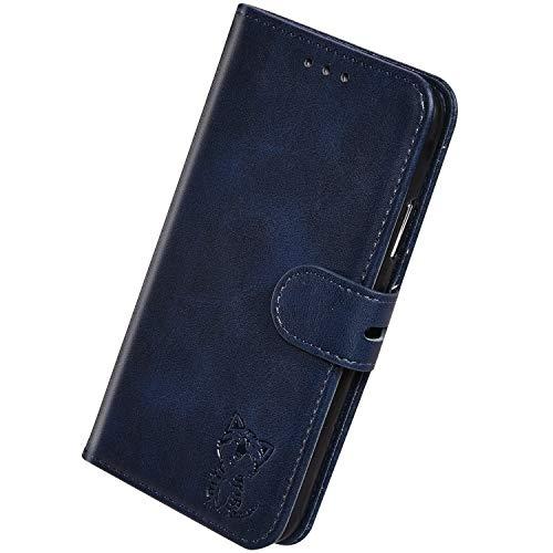 Herbests Kompatibel mit Huawei Mate 30 Pro Hülle Klapphülle Leder Tasche Flip Schutzhülle Wallet Handyhülle 3D Cool Katze Brieftasche Klappbar Hülle Book Case Kartenfächer Magnetisch,Blau